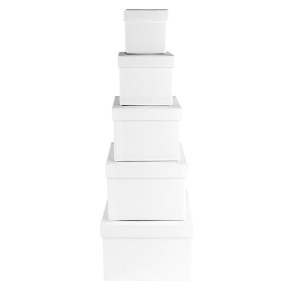Geschenkboxen, quadratisch, verschiedene Größen, weiß, 5 Stück