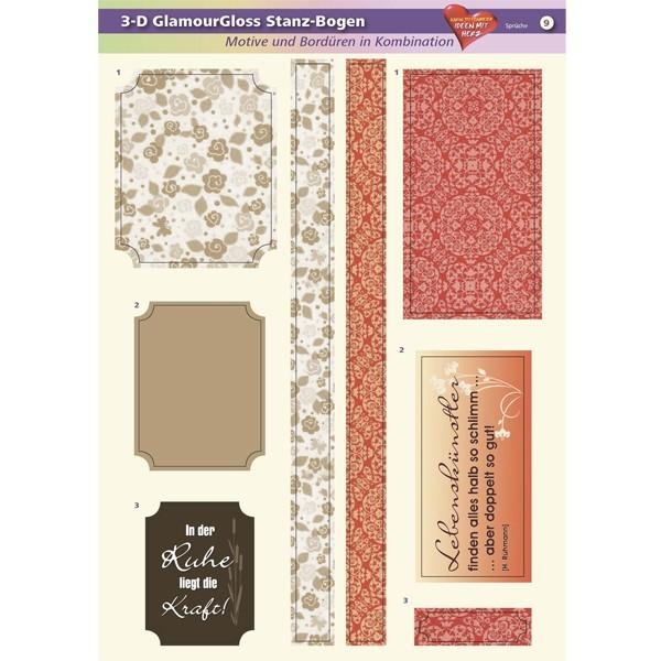 3-D GlamourGloss Bogen, Sprüche, DIN A4, Motiv 9