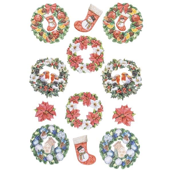 3-D Relief-Sticker, Weihnachtliche Kränze 2, versch. Größen, selbstklebend