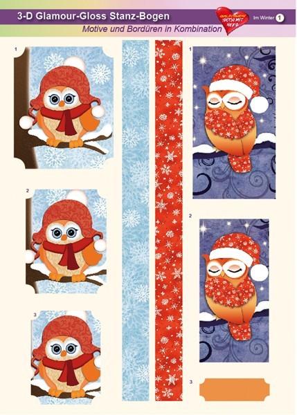 3-D GlamourGloss Bogen, Im Winter, DIN A4, Motiv 1