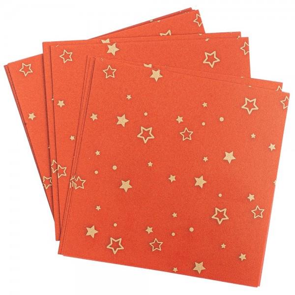 Faltpapiere, transparent, Sterne, 10cm x 10cm, 110 g/m², rot/gold, 100 Stück