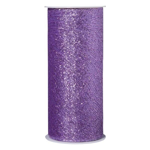 Deko-Tüll mit Glimmer-Schwunglinien, 12cm x 5m, violett