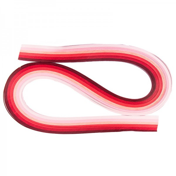 Quilling-Papierstreifen, 54cm lang, 3mm breit, Rosa-/Rottöne, 120 Stück