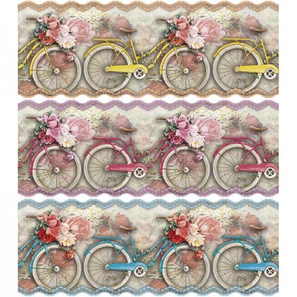 "Zauberfolien ""Frühlings-Fahrrad"", Schrumpffolien für Ø10cm, 9cm hoch, 6 Stück"