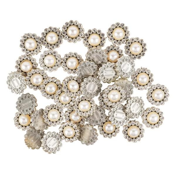 Premium-Schmucksteine, Perlen-Zierstein 4, Ø 1,5cm, hellgold, Halbperle & Glaskristall, 40 Stück
