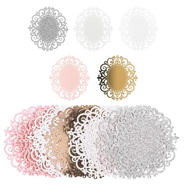 Laser-Kartenaufleger, Zierdeckchen, Ornament 11, 11,5cm x 10,5cm, 220 g/m², 5 Farbtöne, 20 Stück