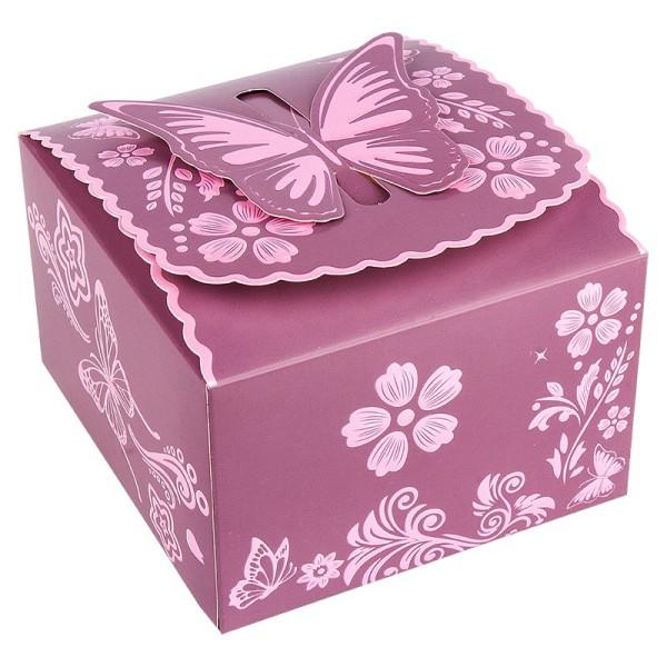 Zier-Faltboxen, Design 4, 11,5cm x 10,8cm x 7cm, aubergine mit rosafarbener Perlmuttveredelung, 10 S