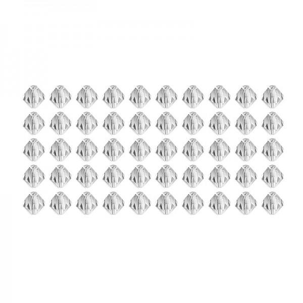 Glaskunst, Perlen, Diamant, 0,8cm x 0,8cm, facettiert, klar, 50 Stück
