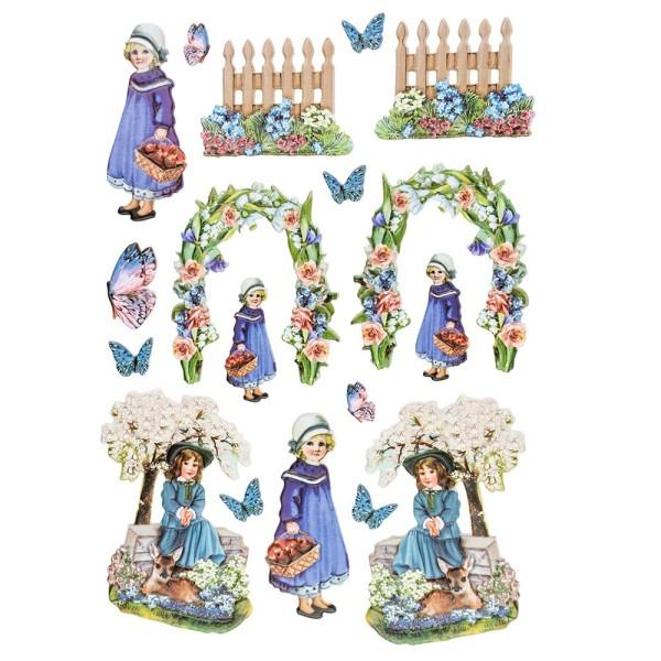 3-D Relief-Sticker, Nostalgie-Kindermotive 5, verschiedene Größen, selbstklebend